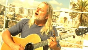David in Bethlehem, playing guitar